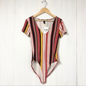 Forever 21 Striped V- Neck Bodysuit New with Tags